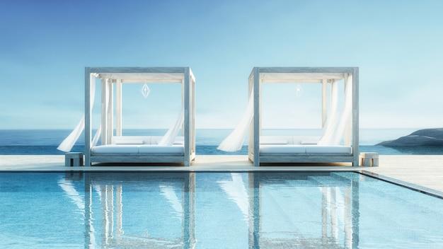 ビーチラウンジ - 休暇と夏の海の景色にオーシャンヴィラ