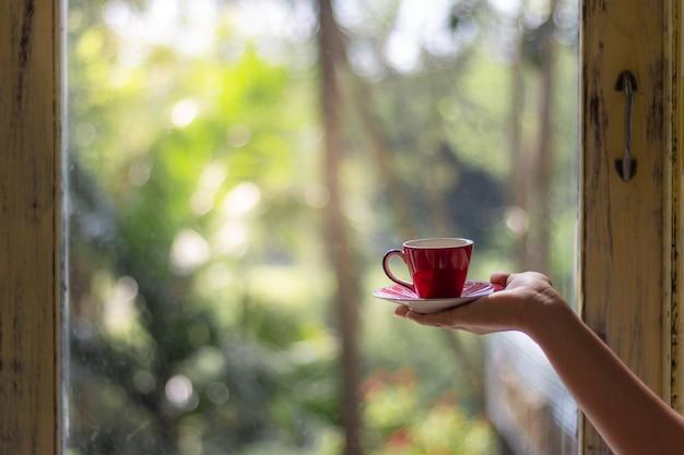 朝の緑の背景をぼかした写真のコーヒーまたは紅茶の赤カップを持っている女性の手