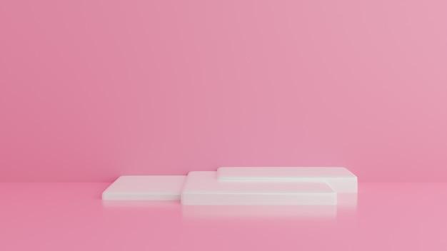 白い表彰台最小限のピンクの壁。抽象的な背景。 。