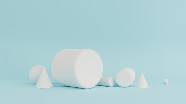 Абстрактный синий цвет геометрических фигур фон, современный минималистский рендеринг