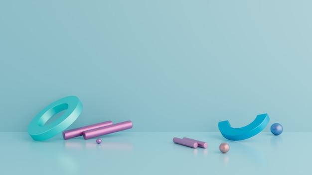 抽象的な背景、幾何学図形、青い色の表彰台。