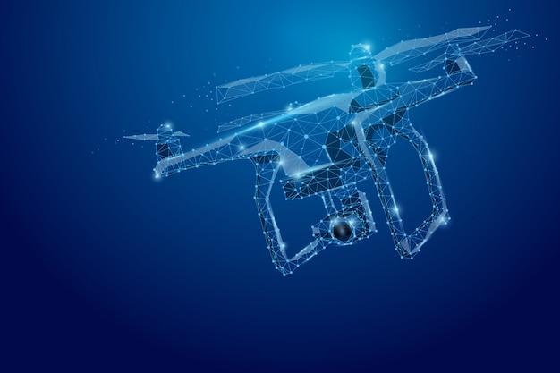 抽象的な線と点ドローン。暗い青のアクションビデオカメラで飛んでいる無人機。点と線を結ぶ多角形低ポリ。イラスト接続構造