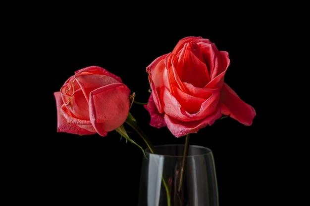 暗い色の木製のテーブルにシャンパングラスに入れられたいくつかのピンクのバラ