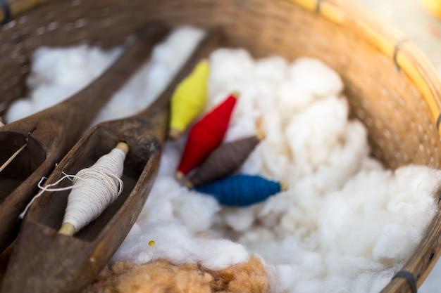 タイ北部の村落の綿繊維製品。
