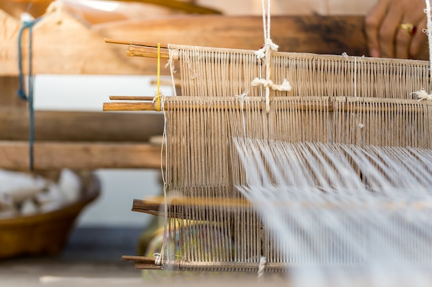 チェンマイの北部の織物、コピースペース。