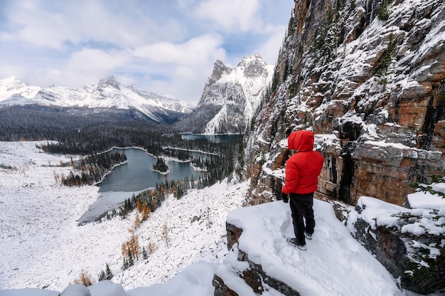 ヨーホー国立公園のオパビン高原で冬の岩の上をハイキングする男性旅行者