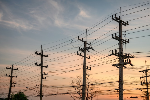 日没のワイヤーネットワークと電柱の農村行