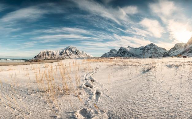 スカグサンデンビーチで冬の北極海岸線上の雪の山脈のパノラマ