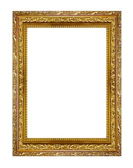 ゴールドの額縁。白い背景に