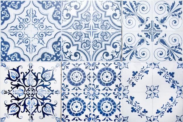 ヴィンテージのセラミックタイル壁の装飾。トルコのセラミックタイル壁の背景