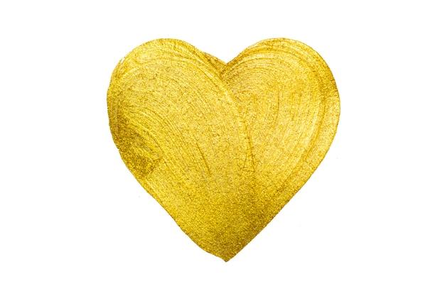 黄金の手描きの心。ゴールドブラシストロークのデザイン要素。