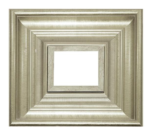 シルバーヴィンテージ写真と写真のフレームは、白い背景に