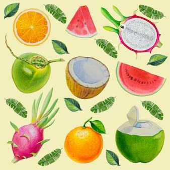 Акварель расписана коллекция фруктов.