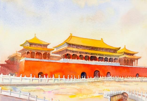 Пейзаж запретного города пекина в китае.