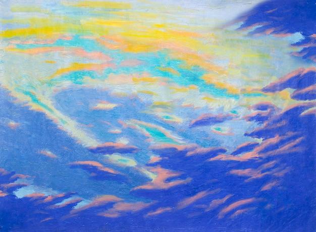 キャンバスに抽象芸術のオリジナルオイルとアクリル絵の具をペイントします。