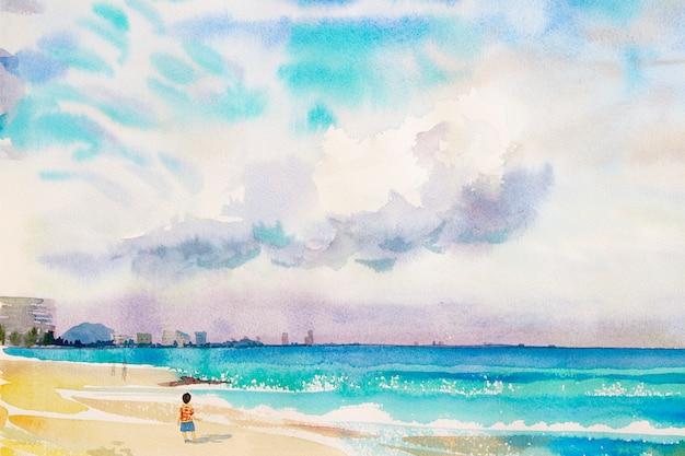 少年のカラフルな絵は砂、海の景色、ビーチの上を歩く