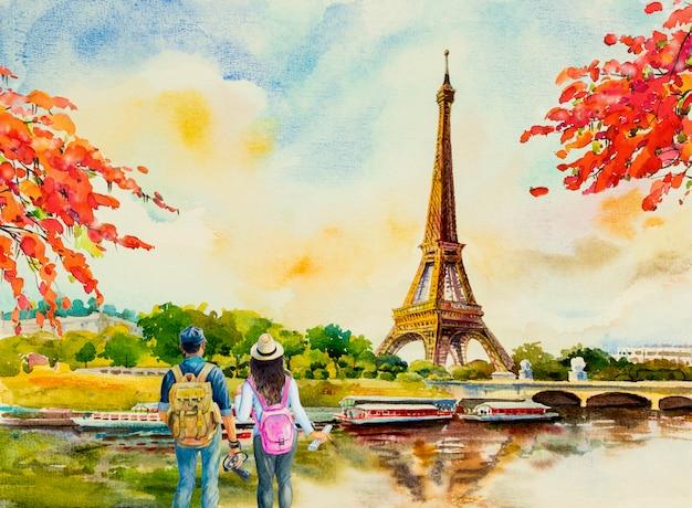 パリの街の風景、フランスのエッフェル塔。
