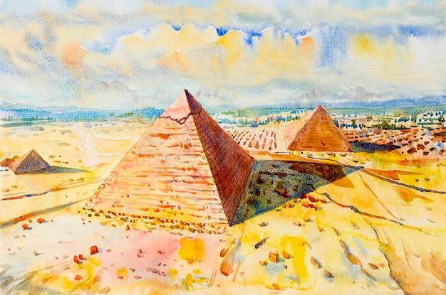 エジプトのギザの砂漠の大ピラミッド。
