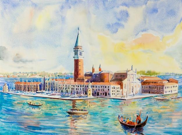 Венеция италия с историческим видом на гондолу