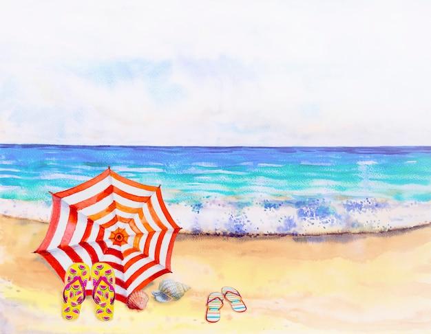 Акварельный пейзаж живопись красочный вид на море.