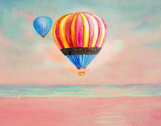 Милый акварельный семейный турист летит на воздушном шаре.
