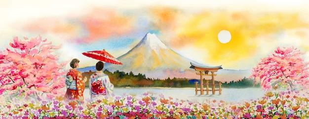 日本の旅行富士山 - アジアの有名なランドマーク。