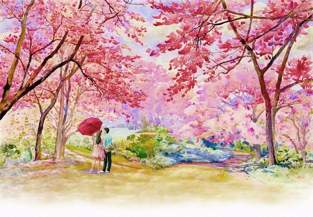 朝の野生ヒマラヤ桜道端の絵画