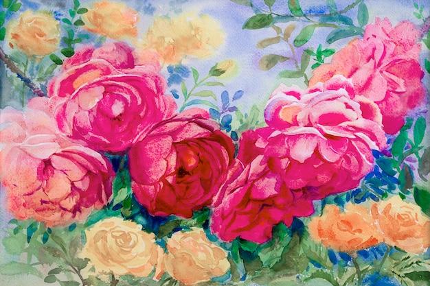 水彩画の花の絵は、バラのピンクイエロー色です。