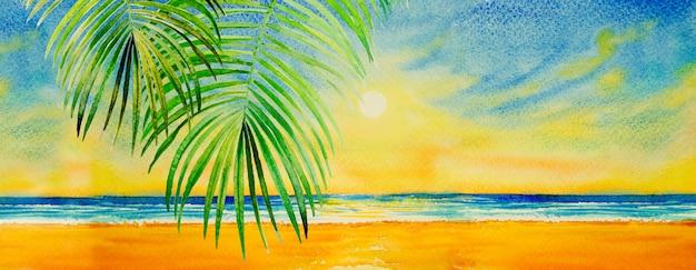 海景の紙にカラフルな水彩画。