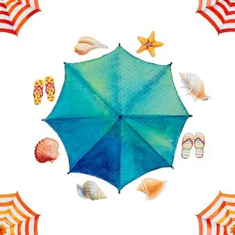 Акварельная живопись вид сверху красочный зонтик,