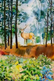 オスの動物、鹿の概念の水彩風景。