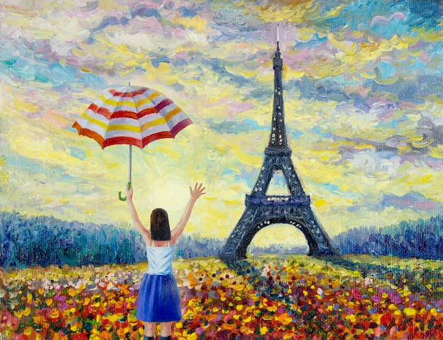 女性旅行、パリのヨーロッパの都市の有名なランドマーク