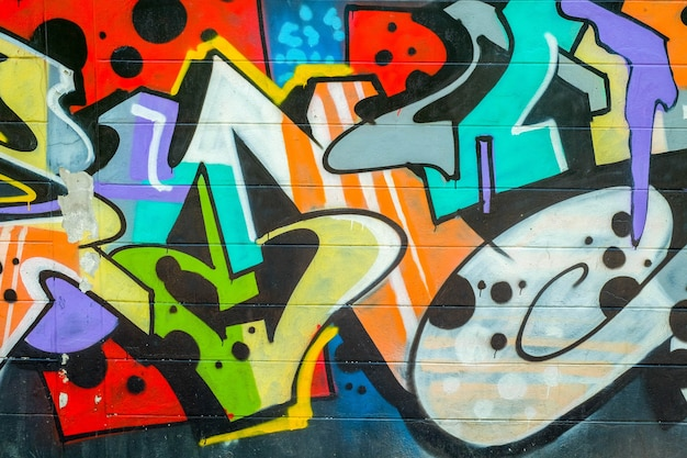 Красочные текстуры граффити на стене в качестве фона