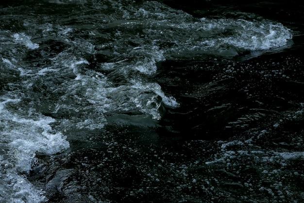 抽象的なダークブルーの滝波水背景テクスチャ