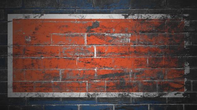 青とオレンジ色の背景テクスチャを描いたレンガの壁