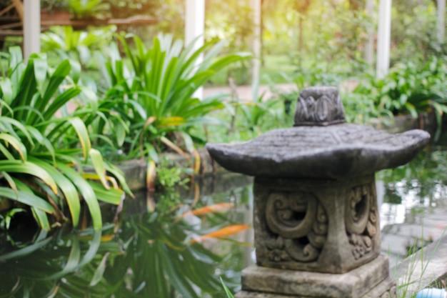 Размытые кои прудовые сады и украшения.