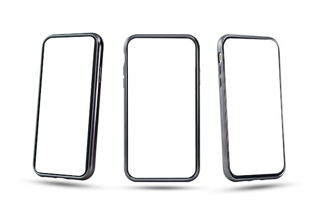 白い画面を持つ空白のスマートフォンコレクション