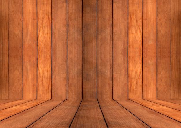 空白の湾曲したチークの木製の壁と床を閉じる
