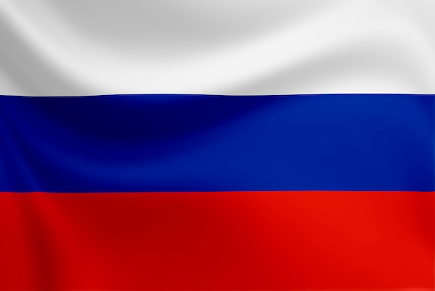 ロシアの旗を振っています。