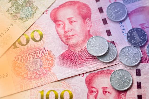 中国元紙幣の毛沢東のクローズアップ。