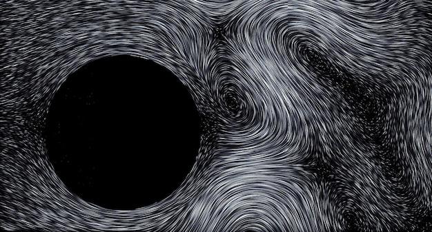 抽象的な壁紙黒背景色の縞模様の粒子の流れ