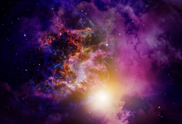 Туманность глубокий космос с фоном звезд