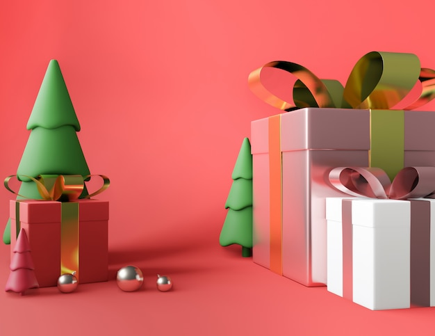 ツリースクエアギフトボックスとメタリックピンクゴールデンリボン