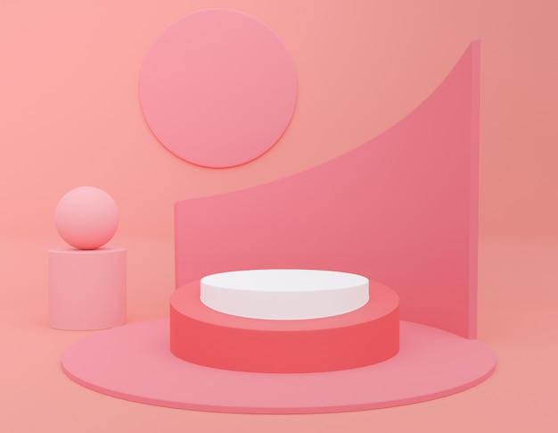 製品のプレゼンテーションのためのピンクのパステルモノクロ化粧品の背景