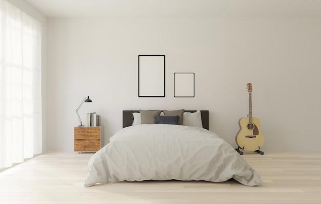 ロフトスタイルのベッドルーム、白い壁、木製の床、大きな窓、ギター、モックアップ用のフレーム