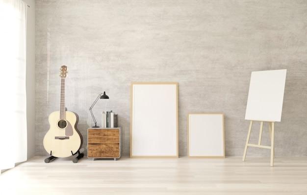 白木製の床、生コンクリートの壁にポスターフレームのモックアップ