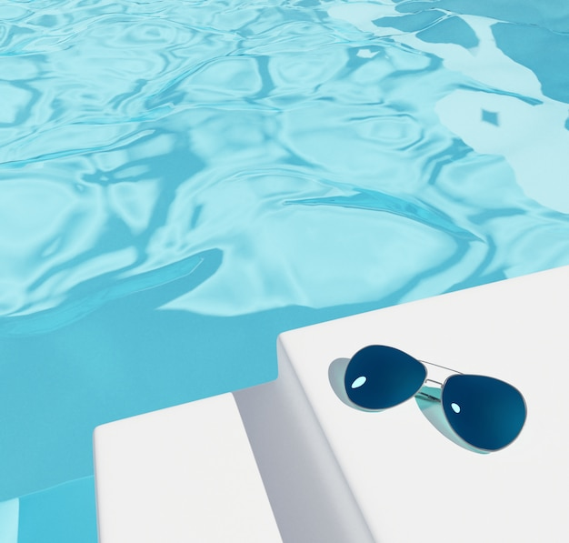 スイミングプールの背景色または化粧品、夏のセール