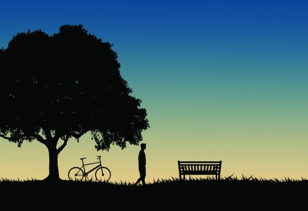 いくつかの休息を取って、リラックスのためのベンチに歩いて黒と白の男のシルエット