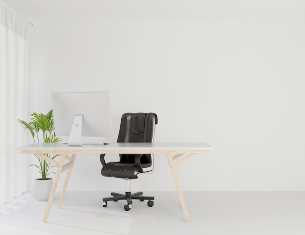 Интерьер офиса рабочей комнате макет копией пространства