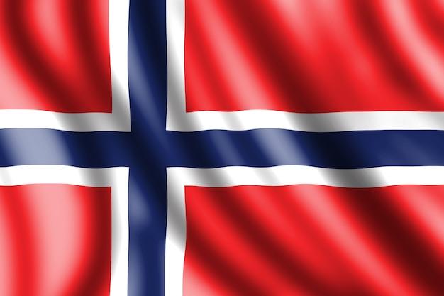 ノルウェーの旗、現実的なイラスト